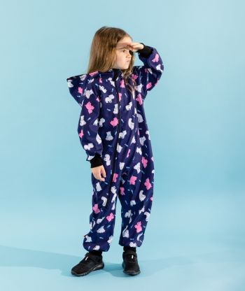Waterproof Softshell Overall Comfy Polar Bears Jumpsuit