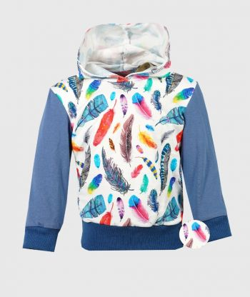 Hooded Long Sleeve T-shirt Feathers