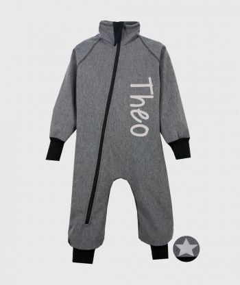 Waterproof Softshell Overall Comfy Grey Melange Bodysuit