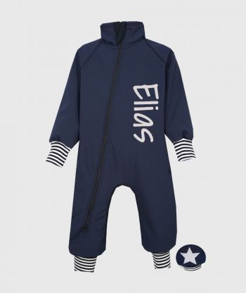 Waterproof Softshell Overall Comfy Ultramarine Striped Cuffs Bodysuit