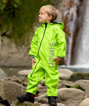 Waterproof Softshell Overall Comfy Neon Green Striped Cuffs Jumpsuit
