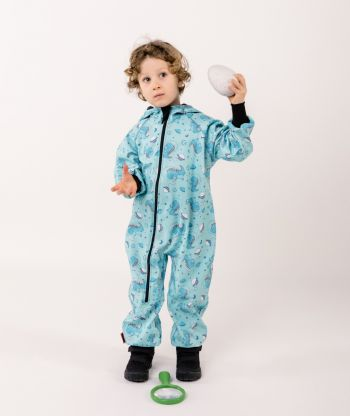 Waterproof Softshell Overall Comfy Space Dino Jumpsuit