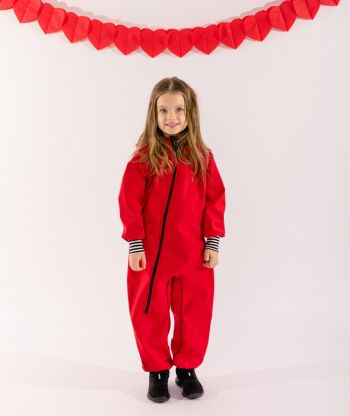 Waterproof Softshell Overall Comfy Red Striped Black/White Cuffs Jumpsuit