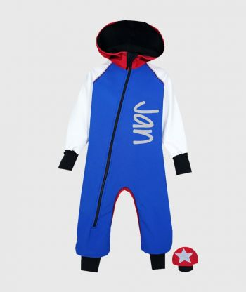 Waterproof Softshell Overall Comfy Blue/White/Red Jumpsuit