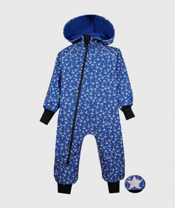 Waterproof Sofshell Overall Comfy Anchors Blue Jumpsuit