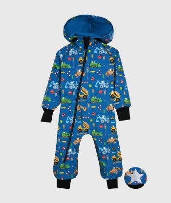 Waterproof Softshell Overall Comfy Vehicles Cyan Jumpsuit