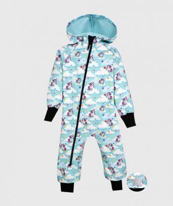 Waterproof Softshell Overall Comfy Unicorns Blue Jumpsuit